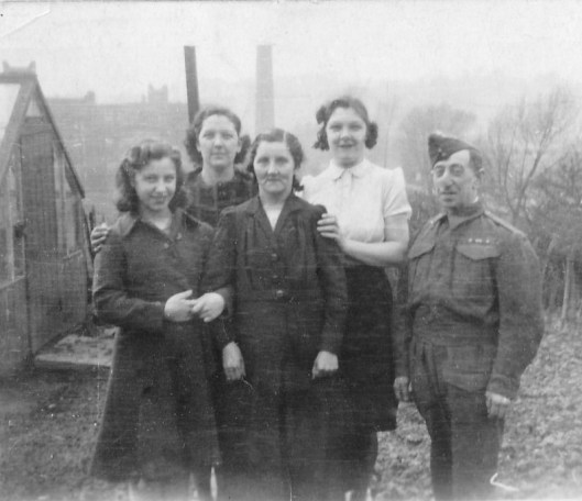 The family in 1942 ~ daughter, Margaret, daughter-in-law, Annie (my mother), Florence, Annie's sister, Edith, and husband, Sam.