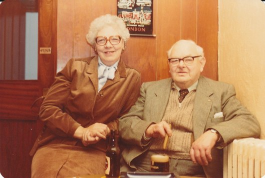 Uncle Walter in 'his' chair at the pub, with mum's sister, Edie, who sent her the newspaper clippings.
